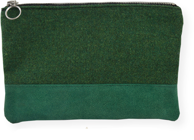 suede & tweed clutch